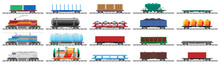 Set Of Train Cargo Wagons, Cisterns, Tanks And Cars. Railroad Freight Collection. Flatcar, Boxcar, Car Carriage. Industrial Carriages, Side View. Cargo Rail Transportation. Flat Vector Illustration