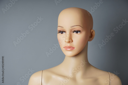 Wallpaper Mural shop window mannequin or display dummy with bald head and naturalistic face