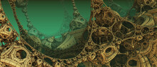 Abstract Background 3D, Fantastic Ancient Civilization Architecture, Gold Green Render Technology Illustration.