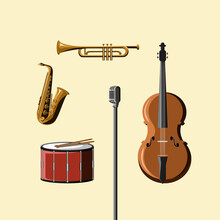 Classical Musical Instruments Full Set Of Vector Illustration
