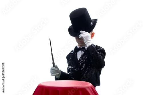 Obraz na plátně Magician kid illusionist boy in hat