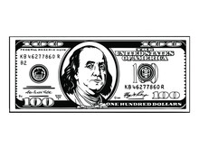 100 Dollar Money Cash Stack Currency Bill Business Advertising Payment Design. Benjamin Franklin