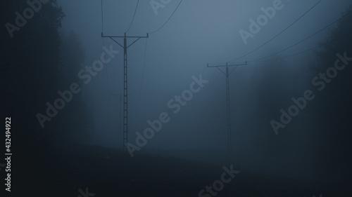 Fototapeta Słupy energetyczne w mrocznej mgle obraz