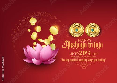 Fototapeta illustration of Happy Akshaya Tritiya celebration with  Jewellery Sale with background obraz