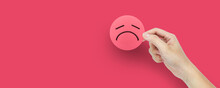 Disappointment Face On Red Circle Paper In Hand, Satisfaction Survey,bad Rating And Positive Customer Review.
