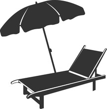 The Icon Of A Chaise Longue With An Umbrella.