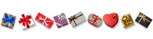 色々なプレゼントの箱。クリスマス、バレンタインデーのギフト。上からのアングル。