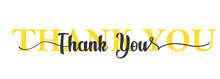 Thank You Card. One Line Lettering. Beautiful Greeting Card Scratched Calligraphy Black Text. Lettering Poster With Text Thank You. Illustration. Vector EPS 10
