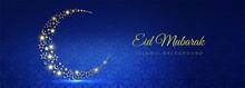 Eid Mubarak Moon Beautiful Card Banner Background