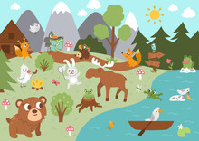 Summer Camp Background With Cute Forest Animals. Vector Woodland Scene With Rabbit, Birds, Moose, Trees, Mountains, River. Active Holidays Or Local Tourism Plan Design For Postcards, Ads, Print.