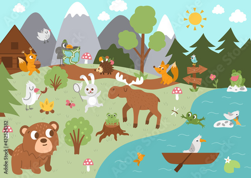 Fotografia Summer camp background with cute forest animals