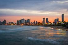Tel Aviv, Israel City Skyline On The Mediterranean At Dusk