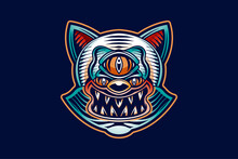 Evil Cat Tattoo Logo Design