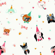 Children's Seamless Pattern With Funny Creative Dog Faces. Trendy Scandinavian Vector Background.