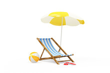 Summer Concept. Deck Chair With Sunshade And Color Beach Ball On White Background