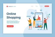 Online Shopping Landing Page. Buyers With Shopping Bags. Online Delivery, Digital Marketing, E-commerce Advertising, Website Interface Vector Template. Man With Cart, Woman Receiving Parcel