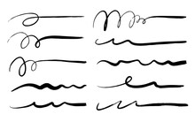 Set Of Hand Drawn Scribble Pen Lines.Doodles, Ink Brushes.Set Of Vector Grunge Brushes. Collection Of Strokes Of Markers.