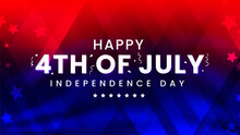 Celebrating 4th Of July Independence Day Modern Contemporary Design With Confetti On Trendy Red And Blue American Flag Color Background With Stars.