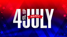 USA 4th Of July Modern Colorful Lettering Design On Trendy Red And Blue American Flag Color Background With Stars.