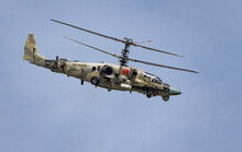 ZHUKOVSKY, RUSSIA - SEPTEMBER 01, 2019: Demonstration Of The Kamov Ka-52 Alligator Attack Helicopter Of The Russian Air Force At MAKS-2019, Russia.