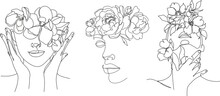 Line Art Woman With Flowers. Head Of Flowers Line Drawing. Flower Woman Vector.   Minimal Abstract Portrait Female