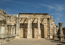 View Of The Interior Of The 4th Century Synagogue Capernaum  Galilee. Mentioned In The Bible As A Place Jesus Spent A Lot Of Time And Performed Some Of His Miracles. Home Of Many Of His Apostles.
