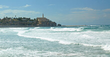View Of Jaffa From The Tel Aviv Promenade, Israel. The Port Town Is On The Mediterranean Coast.