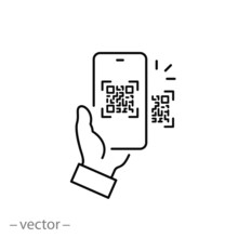 Scan Qr Code Icon, Payment Hand With Phone, Scanner App, Thin Line Symbol On White Background - Editable Stroke Vector Eps10