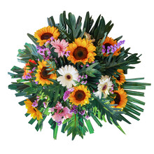 Funeral Bouquet Garland Flower Arrangement Mixes Sunflowers And Gerberas With Statice Flowers And Tropical Foliage Fern, Philodendron And Palm Leaves Isolated On White Background With Clipping Path.