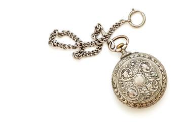 Vintage silver pocket watch on white background
