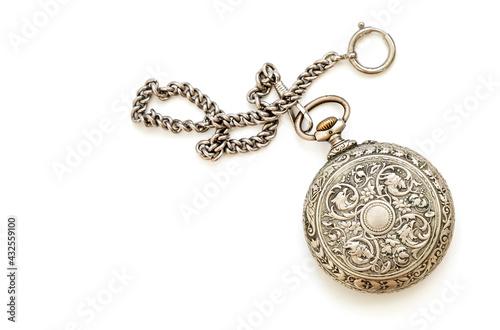 Fototapeta Vintage silver pocket watch on white background obraz