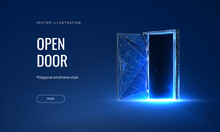 Open Door Digital Vector Illustration On A Blue Background. Futuristic Science Fiction Concept Of Doorway. Technology Portal In A Polygonal Wireframe Glowing Style