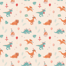 Festive Seamless Pattern With Dinosaurs. Velocepator, Triceraptor, Stegosaurus, Pteranodon, And Baby Who Just Hatched From An Egg. Balloons, Cakes, Foliage, Stars. Cheerful Vector Background For Child
