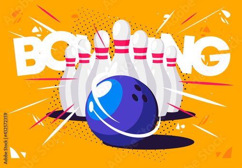 Slika na platnu Vector illustration of a bowling set with a ball and skittles