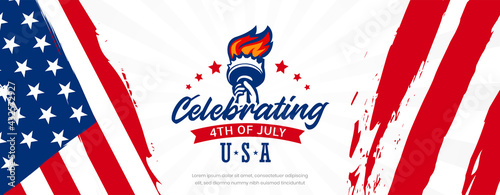 Fotografia Celebrating USA independence day, 4th of July with statue of liberty on United S
