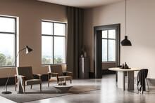 Light Living Room Interior With Minimalist Furniture And Window