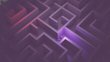3D Rendering Of A Person Stuck In The Middle Of A Maze Shot At A High Angle