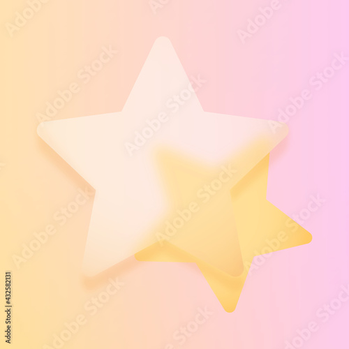 Obraz Glassmorphism z miejscem na tekst - transparentna szklana gwiazda oraz mniejsza gwiazdka na wesołym jasnym tle. Ilustracja dla social media story, internetowe projekty, aplikacje mobilne. - fototapety do salonu
