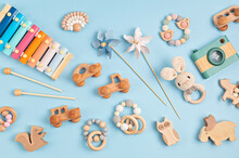 Eco Fiendly Child Wooden Toys. Sustainable, Developmental, Sensory Toys For Babies And Toddlers. Top View, Flat Lay