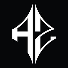AZ Logo Monogram With Diamond Shape Design Template