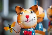 Art Metal Cat In Colour - Stock Photo