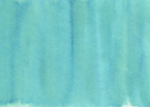 Watercolor Background Of Teal Color Gradient With Artistic Washes. Beautiful Backdrop For Design Decoration, Banner, Modern Poster, Print, Frame, Scrapbooking Paper. Handdrawn Watercolour Drawing.