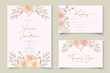 Set of hand drawn elegant floral wedding card template
