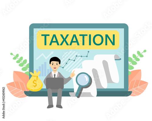 Obraz na płótnie Businessman sitting on notebook explaining about taxation