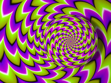 Green Pink And Purple Rotating Sphere. Spin Illusion.