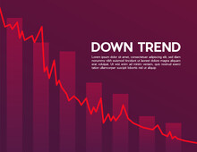Red Downtrend Abstract Background. A Group Of The Red Bar And The Line Graph Shows Feelings That Fall Down, Lower, Losing, Downward, And Bear Stock Market. Background For The Economy And Data Analysis