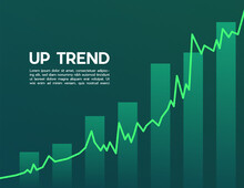 Green Uptrend Abstract Background. A Group Of The Green Bar And The Line Graph Feeling That Rise, Growth, Motivation, Hope, And Bull Stock Market. Background For The Economy And Data Analysis.