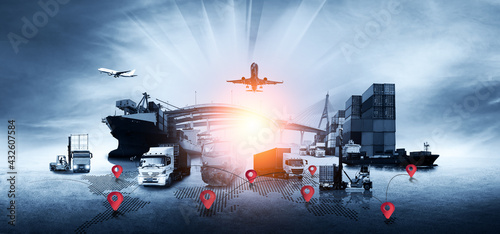 Fototapeta Global business of Container Cargo freight train for Business logistics concept, Air cargo trucking, Rail transportation and maritime shipping, Online goods orders worldwide obraz