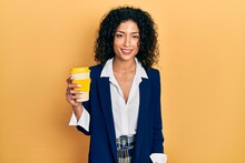 Young Latin Girl Wearing Business Style Drinking Cup Of Coffee Looking Positive And Happy Standing And Smiling With A Confident Smile Showing Teeth