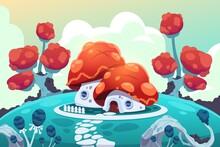 Cartoon Forest House. Fairy Gnome Village Panorama With Magical Garden. Little Building On Hill. Bright Roof Mushroom Cap And White Walls. Fantasy Landscape. Vector Mysterious Illustration